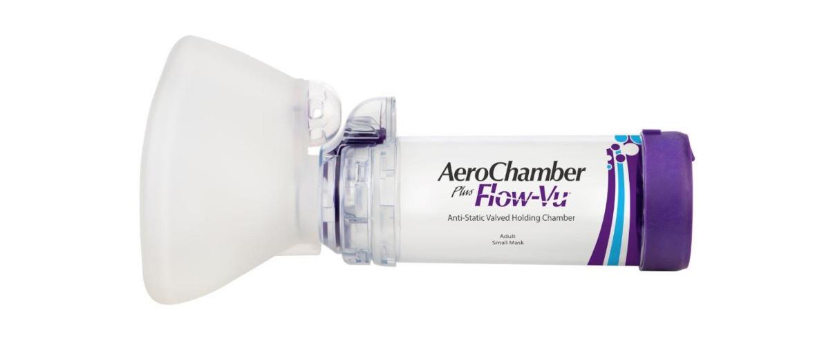 AeroChamber Plus Flow Vu mit kleiner Erwachsenenmaske Produktabbildung